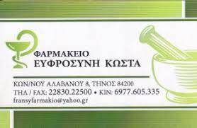 ΦΑΡΜΑΚΕΙΟ FZIN ΤΗΝΟΣ ΚΩΣΤΑ ΕΥΦΡΟΣΥΝΗ
